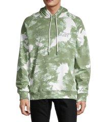 true religion men's blotchy tie-dye hoodie - green - size xxxl