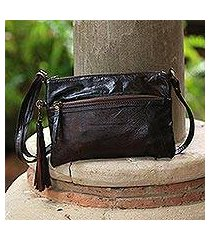 leather sling, 'vintage pouch in espresso' (indonesia)
