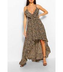 leopard strappy ruffle asymmetric hem maxi dress, brown
