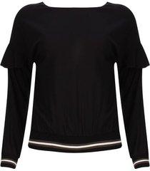 blusa puños y fajon color negro, talla 6