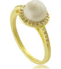 anel com pérola e mini zircônias 3rs semijoias dourado
