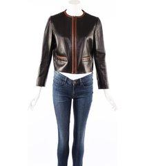 prada black brown leather zipped jacket black/brown sz: s