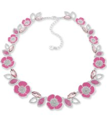 "anne klein crystal, stone & mother-of-pearl 3d flower collar necklace, 16"" + 3"" extender"