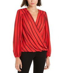 inc striped surplice top, created for macy's