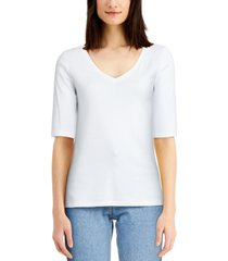 charter club cotton elbow-sleeve t-shirt, created for macy's