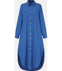 camicetta casual a maniche lunghe con risvolto a bottoni tinta unita da donna