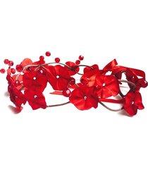 headband fuxicos & frescuras coroa de fada dupla vermelho