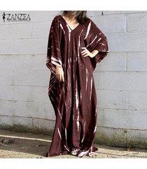 zanzea mujeres con cuello en v vestido de manga 3/4 maxi playa vestido irregular informal floral del verano -rojo