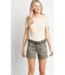 maurices womens light olive utility pocket belted 5in shorts green