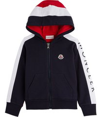 moncler bicolor cotton hoodie with logo patch