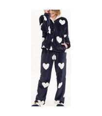 pijama longo com abertura feminino cor com amor 12501 feminino p multicores unica
