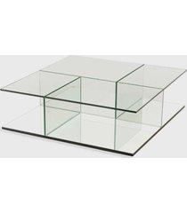 mesa de centro bauhaus 100x100x32h base espelho prata vidrotec - incolor - dafiti