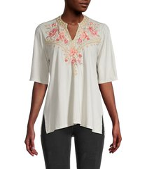 johnny was women's rianne floral embroidery elbow-sleeve top - eden rose - size xs