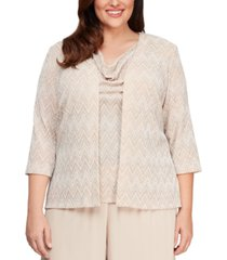 alex evenings plus size geometric geo-print jacket and top