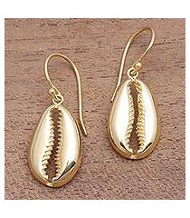 gold plated sterling silver dangle earrings, 'cowry shell' (indonesia)
