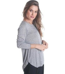 blusa manga longa com barra mullet soft feminina - feminino
