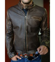 genuine leather jacket distressed brown cafe vintage motorcycle brand all size