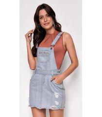 jardineira jeans zait curta marie - feminino