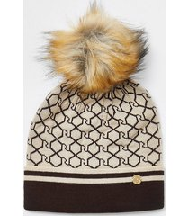 river island womens brown ri monogram beanie hat