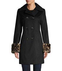 tahari women's faux fur cuffs wool-blend double-breasted coat - black - size xl