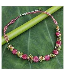 cultured pearl and peridot beaded necklace, 'peony romance' (thailand)