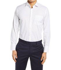 men's nordstrom slim fit non-iron dobby dot dress shirt, size 16.5 - 34/35 - blue