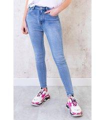 skinny broek high waist lichtblauw