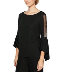 alex evenings embellished bell-sleeve top