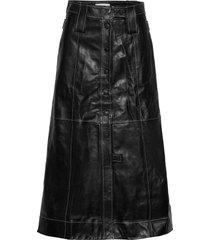 lamb leather knälång kjol svart ganni