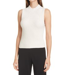 women's vince textured shrunken cotton blend sleeveless sweater, size medium - beige