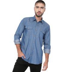 camisa masculina manga larga jean medio doble bolsillo cowboy los caballeros