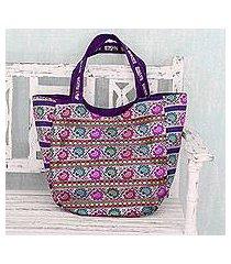 brocade shoulder bag, 'floral garden' (india)