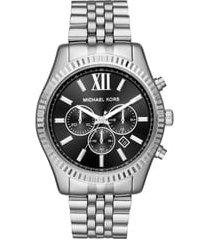 michael kors lexington bracelet chronograph watch, 44mm x 54mm in silver/black/silver at nordstrom