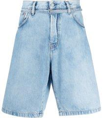 acne studios front-tie denim shorts - blue