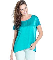 blusa t-shirt douglas harris acetinada verde - verde - feminino - viscose - dafiti