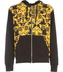 versace jeans couture baroque fleece print logo hooded sweatshirt