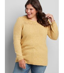 lane bryant women's pointelle-yoke sweater 22/24 sunflower