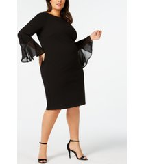 calvin klein plus size illusion bell-sleeve dress