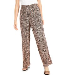 bar iii animal-print wide-leg pull-on pants, created for macy's