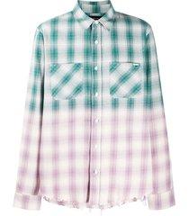 amiri frayed checked shirt - green