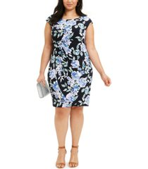 connected plus size ruched side-tab sheath dress
