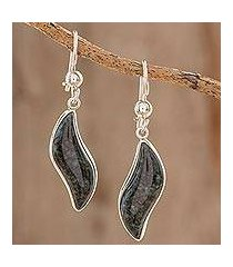 dark green jade dangle earrings, 'floating in the breeze' (guatemala)