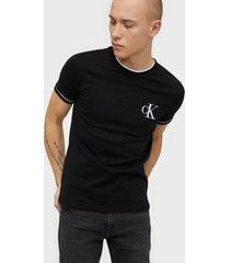 calvin klein jeans tipping ck essential tee t-shirts & linnen black