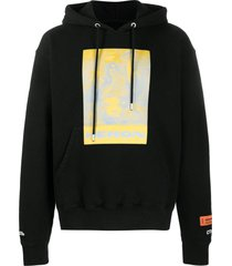 heron preston black cotton hoodie