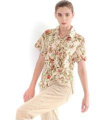 blusa para mujer estampado florar, cuello en v, botones frontales, manga corta color-multicolor-talla-xs