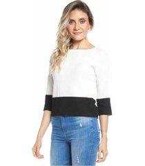 blusa 2 cores manga 3/4 feminina - feminino