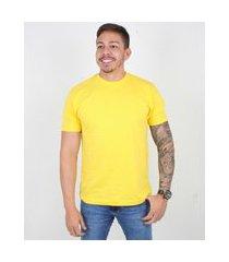 camiseta casual msculina gola redonda lucas lunny basica amarelo .