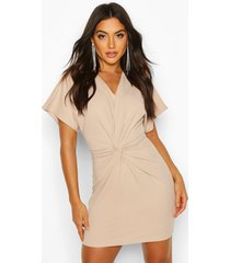 crepe twist front mini dress, stone