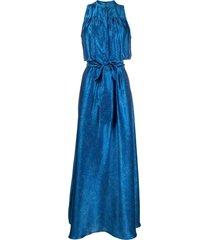 kiton metallic belted silk gown - blue