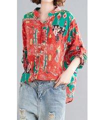 camicetta vintage da donna a maniche lunghe con stampa etnica allentata